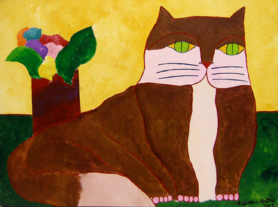 Gato marrom e vaso com flores - Aldemir Martins