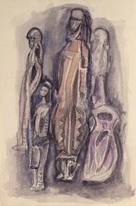 Três pessoas de turbante com uma criança - Alice Brill