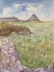Paisagem campo verde com mural de pedras - Alice Brill