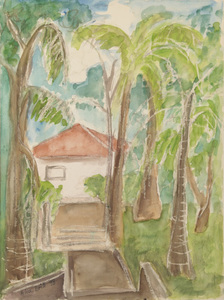 Casa de campo com palmeiras e céu azul - Alice Brill