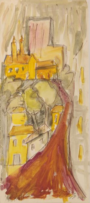 Tronco-de-arvore-marrom-com-casas-ao-fundo-amarelo-alice-brill