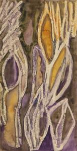 Planta roxa e laranja com contornos em branco - Alice Brill