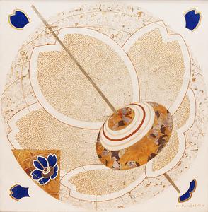Pião com flores azul - Kazuo Wakabayashi