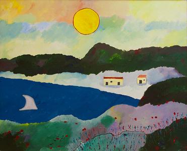 Marinha com casas e jangada - Aldemir Martins