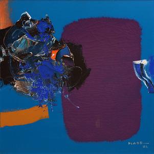Abstração sobre fundo azul - Manabu Mabe