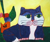 Gato Azul e Vaso com Flores - Aldemir Martins