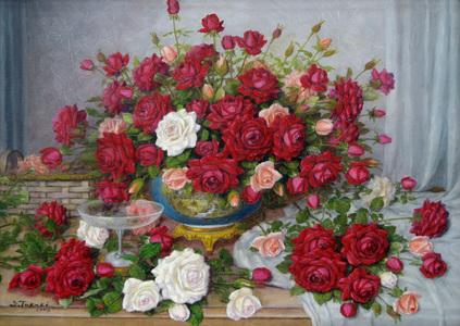 Vaso azul e rosas - Shokichi Takaki