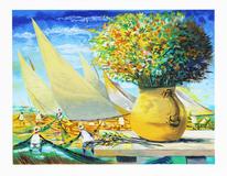 Vaso Com Flores e Jangadas  - Enrico Bianco