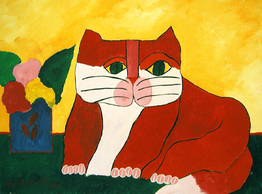 Gato-vermelho-e-vaso-com-flores-aldemir-martins