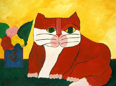 Gato vermelho e vaso com flores - Aldemir Martins