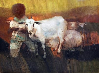 Criança com carneiros - Enrico Bianco