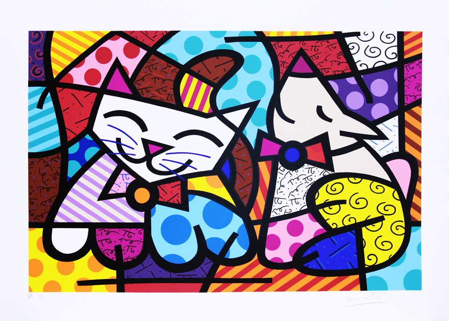Happy-cat-snob-dog-ii-romero-britto