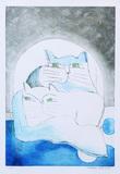 Gatos Azul e Branco - 23/100 - Aldemir Martins