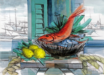 Natureza morta com peixe - Enrico Bianco