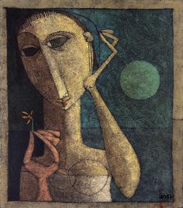 Mulher com flor à lz da Lua - Inos Corradin