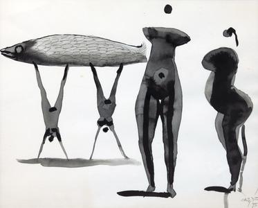 Mulheres e peixe - Carybé (Hector Julio Páride Bernabó)